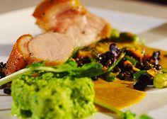 Gentle back pork with garlic sauce, egg mixture and lentil salad by Marketa Hrubešová
