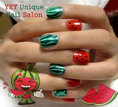 Not crazy bout the design, but my obsession with watermelon nails wouldn't let me pass without repinning!