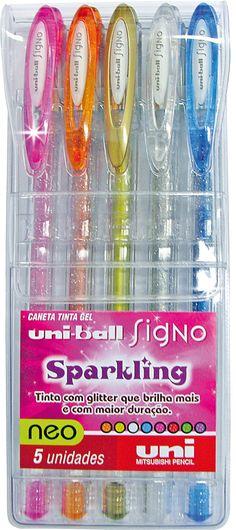 Estojo Uniball Sparking Signo Cintilante Com 5 Cores