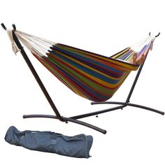 Prime Garden 9-Feet Double Hammock with Steel Stand, Rainbow Stripe ** This is an Amazon Affiliate link. Learn more by visiting the image link.