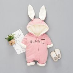 f69c8cef302 Cute Rabbit Ear Winter Romper. Fig Avenue