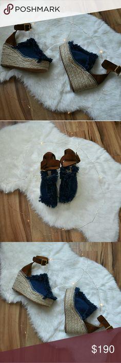 Chloe Denim fringe wedges US 9 • Chloe • Made in Spain • preowned Chloe Shoes Wedges