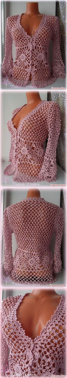 A feminine and elegant jacket is crocheted.DESCRIPTION OF ROSE JACKET Pull out thedetails of the jacket in full size, adjusting to its size.