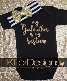 Godmother is my bestie, Goddaughter gift, Baby Girl outfit, godmother shirt, . Godmother is my bes Goddaughter Gifts, Godchild, Baby Girl Romper, Baby Girl Gifts, Baby Dress, Baby Onesie, Godmother Shirts, Unique Baby Clothes, Daughter Of God