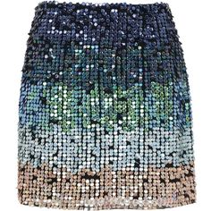 French Connection Cosmic Beam Sequin Skirt, Utility Blue Multi (1,705 MXN) ❤ liked on Polyvore featuring skirts, mini skirts, bottoms, embellished skirts, straight skirts, short sequin skirt, colorful skirts and galaxy skirts