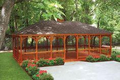 Rectangle Cedar Log Gazebo | Gazebo, Amish and Craftsman