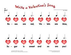 A worksheet for little ones to write their own Valentine Song. Cute :)