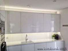 Villa Kivitalo: Valkoinen keittiö Kitchen Cabinets, Led, Home Decor, Decoration Home, Room Decor, Kitchen Cupboards, Interior Design, Home Interiors, Kitchen Shelves