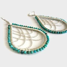 Wire wrapped sterling silver turquoise and chain Earrings