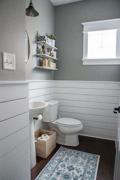 shiplap bathroom Check out this beautiful powder room reveal! This tiny bathroom was transformed . Downstairs Bathroom, Bathroom Renos, Bathroom Renovations, Bathroom Interior, Master Bathroom, Home Remodeling, Bathroom Cabinets, Bathroom Ideas, Bathroom Colors