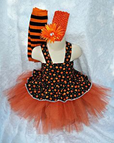 Girls  Halloween Costume  pumpkin tutu witch by LittleGirlsDresses, $30.00