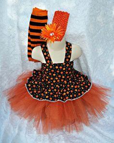 Girls Halloween Costume pumpkin tutu witch corset top