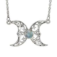 Sterling Silver Butterfly Triple Moon Necklace with Rainbow Moonstone Jewelry