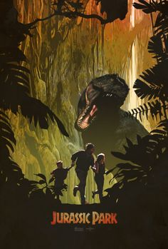 An alternative movie poster for the film Jurassic Park, created by Ed Burczyk, featured on AMP. Jurassic Park Film, Jurassic Park Party, Jurassic Park World, Michael Crichton, Dinosaur Posters, Dinosaur Art, Science Fiction, Vintage Logo, Kunst Poster