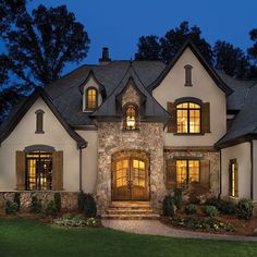 Love the architecture of this house. I love the portico design and the colors. Custom Luxury Home Builder Arthur Rutenberg Homes French Country Exterior, French Country House, Exterior House Colors, Exterior Design, Stucco Colors, Luxury Homes Exterior, Arthur Rutenberg Homes, Casas Shabby Chic, Architecture Design