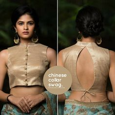 Hop on the metallic bandwagon with this oh-so-chic gold jute tissue blouse. The formal collared blouse with a deep tie-up back speaks to… Lengha Blouse Designs, Netted Blouse Designs, Choli Blouse Design, Fancy Blouse Designs, Collar Designs, Blouse Back Neck Designs, Crop Top Designs, Designer Blouse Patterns, Pattern Of Blouse