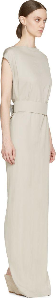 Rick Owens Pearl Grey Belted Dagger Dress