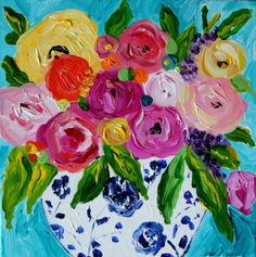 "Floral Still Life Flowers in Blue and White Ginger Jar, ""Lola"" by Carolyn Shultz 12"" x 12"" SOLD"