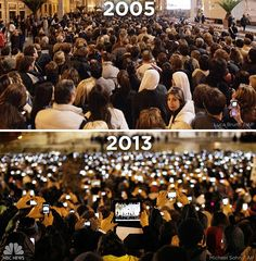 If you still need proof that mobile devices have really caught on, take a look at NBC news' comparison between the 2005 and 2013 crowds gathered at St. Peter's Square in Vatican City to see the newly-selected Pope. Google Glass, Think Big, Memes Del Papa Francisco, We Are The World, Change The World, Sistema Global, Place Saint Pierre, St Pierre, New Pope