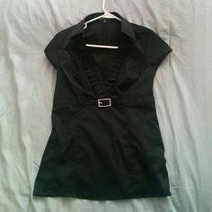 Express black blouse, work fashion Black blouse top with turquoise stripes. Deep ruffled v-neck. Worn once, perfect condition. Express Tops Blouses
