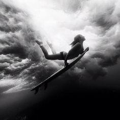 Black & White Girl Surfing