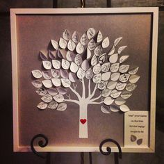 Leaf your name wedding guest book idea.