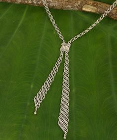 Handmade Sterling Silver Macrame Lariat Necklace