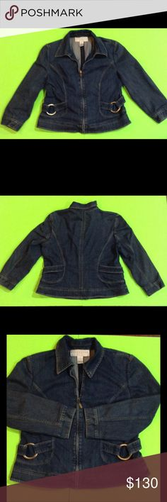 Doncaster denim woman's jacket This item may have worn but have no visible sings of wear. Doncaster designer Denim Jacket have Zip front the zipper stop 6 inches before the collar.look at  the perfect sewing up the front to collar and around designer belting on the side ,and large brushed gold ring attached. Size 16 Jackets & Coats