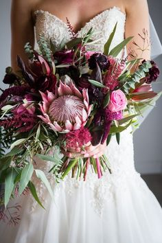Purple Wedding Flowers king protea and Australian native flower bride wedding bouquet - After meeting on a blind date, Megan and Andy quickly became inseparable, celebrating their love in an elegant rustic wedding at Serafino Wines. Wedding Flower Guide, Wedding Arch Flowers, Bridal Flowers, Flower Bouquet Wedding, Bridesmaid Bouquet, Wedding Ideas, Bridesmaids, Protea Bouquet, Wedding Advice