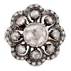 Georgian Rose Cut Diamond Flower Ring // ESQUELETO