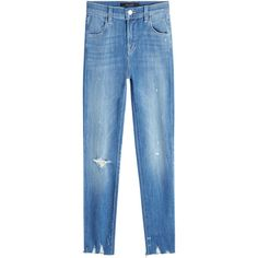 J Brand Distressed Skinny Jeans ($309) ❤ liked on Polyvore featuring jeans, blue, destroyed skinny jeans, blue skinny jeans, super skinny jeans, blue jeans and ripped skinny jeans