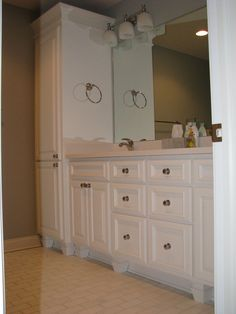Bathroom Linen Cabinets design idea: customized bathroom cabinet. why: storing towels in