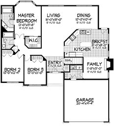 Home Plans HOMEPW04394 - 1,728 Square Feet, 3 Bedroom 2 Bathroom New American Home with 2 Garage Bays