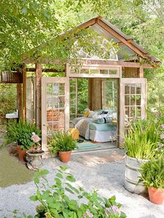 She Sheds Are the New Man Caves Amazing little garden house from Better Homes Gardens. Could do a guest house in the back yard! The post She Sheds Are the New Man Caves appeared first on Garden Easy. Outdoor Rooms, Outdoor Gardens, Outdoor Decor, Outdoor Bedroom, Outdoor Sheds, Rustic Outdoor, Outdoor Fabric, Outdoor Kitchens, Outdoor Seating
