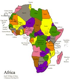 Africa Control Maps & Masters - includes Blank, Colored, Labeled Maps of Africa, and Puzzle Map Labels.