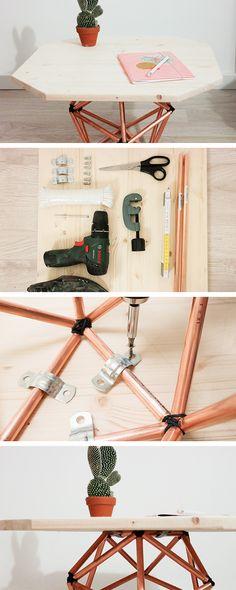 Cómo hacer una mesilla de madera con patas en forma de icosaedro #manualidades #punto #costura #ganchillo #hechoamano #handmade #DaWanda