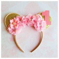 Rose et or bandeau oreilles de Minnie par MyBirthdayBoutiqueCo