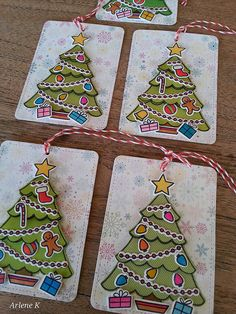 Lawn Fawn - Trim the Tree + coordinating dies, Stitched Journaling Card, Peppermint Lawn Trimmings _ super cute tags by Arlene K via Flickr - Photo Sharing!