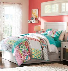 bright colored bedding