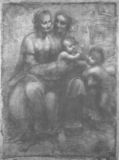 """Leonardo da Vinci, """"Cartoon: The Virgin and Child with SS. Anne and John the Baptist"""", as reproduced in the National Gallery's June 1962 – December 1964 Annual Report, after the drawing's acquisition by the gallery in 1962."""