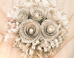 Old book paper bouquet, wedding bridal bouquet, paper flower, recycled, vintage, retro, brides maid bouquet