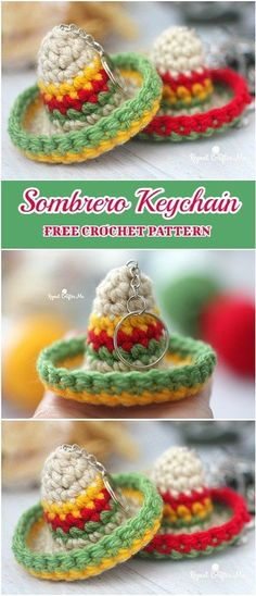 Sombrero Keychain Free Crochet Pattern - These sweet little sombrero keychains are quick to make and fun accessory. Could also be used as an ornament, party favor, or zipper pull on a backpack