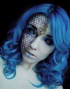 MERMAID MAKEUP WITH BLUE HAIR WIGS. Click the image to read the full blog post featuring Halloween makeup inspiration ideally paired with blue hair and blue wigs. Includes video tutorials, product lists and guides. Click the image for full article.