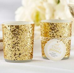 All That Glitters Gold Glitter Votive Holder | Wedding Favor Discount