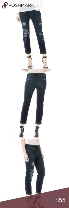 """Level 99 'Sienna Tomboy' Distressed Jeans New with tags - The Sienna is a version of a true Boyfriend fit. Easy, with a slightly tapered leg. This relaxed fit sits a little lower on the hips. Broadway is a dark wash with heavy distressing and tattering all down the legs.  Inseam is 28"""" uncuffed.  Please note that the size on the jeans is 27 but they are mismarked. These fit a size 30 perfectly. 15"""" Waist laying flat. These go for $118 on the Level 99 website. Level 99 Jeans Boyfriend"""