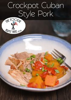 Tender pork with sweet potatoes and red bell pepper.