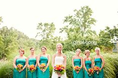 summer wedding - jade and orange // #bridesmaids #weddingbouquets // flowers by hohmanfloral.com; photo © gntphoto.com