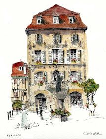 Chris Lee (artist of the wobbly), Beaulieu-sur-Dordogne. Every wobbly drawing is… Watercolor Architecture, Architecture Drawings, Architecture Panel, Architecture Portfolio, Architecture Design, Building Illustration, Illustration Art, Watercolor Sketch, Watercolor Paintings