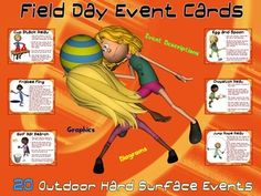 Field Day Event Cards- 20 Outdoor, Hard Surface Events
