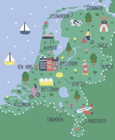 Holland Map Art Print by Sara Maese - X-Small Dublin Travel, Travel Maps, Travel Posters, Holland Map, Utrecht, Rotterdam, Netherlands Map, Art Carte, Illustrator
